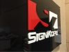 laser cut acrylic sign with stand off hardware