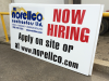 now hiring plywood sign