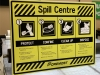 spill centre safety sign