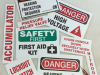 warning safety first stickers